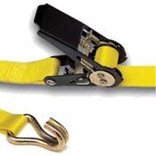 Immagine di cinghie fermacarico c/tension. mm. 25 x 5000 giallo c/gancio chiuso
