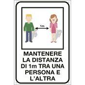 Immagine di cartelli indicazioni alluminio 200x300 35334 mantenere distanza 1m ...