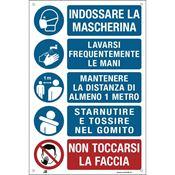 Immagine di cartelli indicazioni alluminio 200x300 35325 indossare ... lavarsi ...