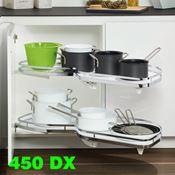Immagine di cestelli corner lemans vassoio l45 dx bianco/cr set 2 vassoi fondo bianco